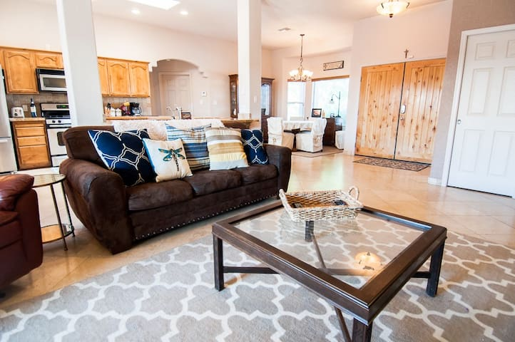 Sit back and relax in the spacious living room.