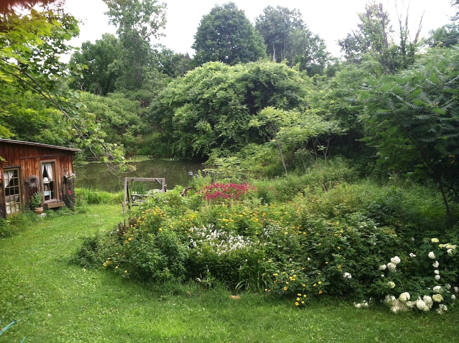 Cabin overlooking pond, surrounded by such green and lush gardens.