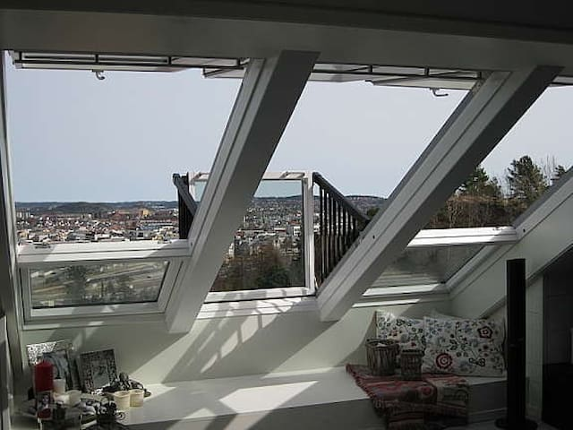 Sentral leilighet med panorama utsikt