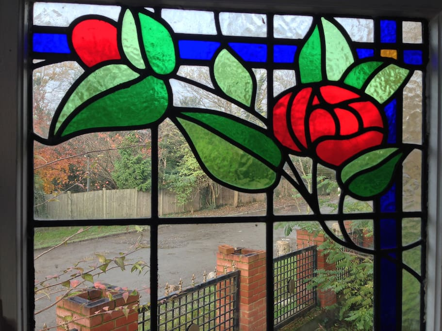 Beautiful stained glass greets you in the morning at this former Victorian gatehouse