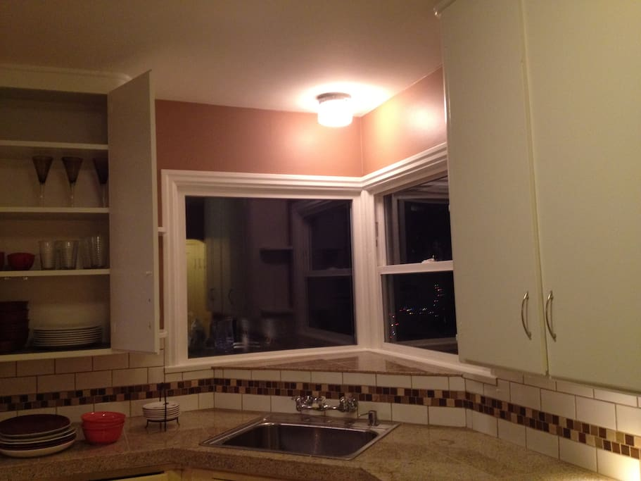 recently remodeled kitchen, with amenities: coffee maker, microwave, toaster, & blender.