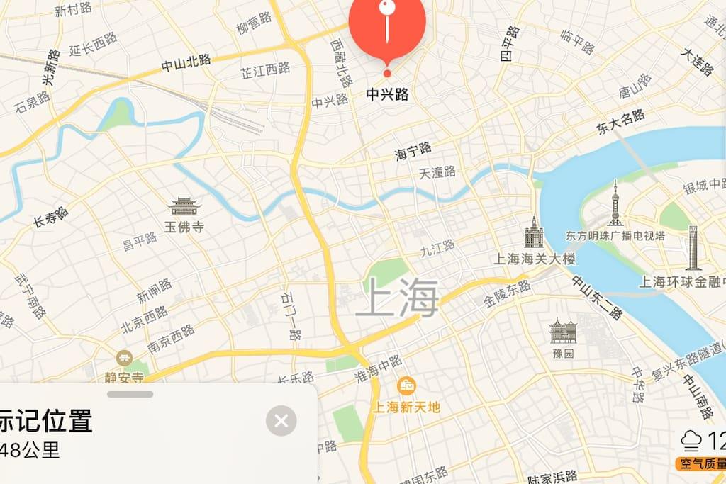 上海中心版图与房源位置