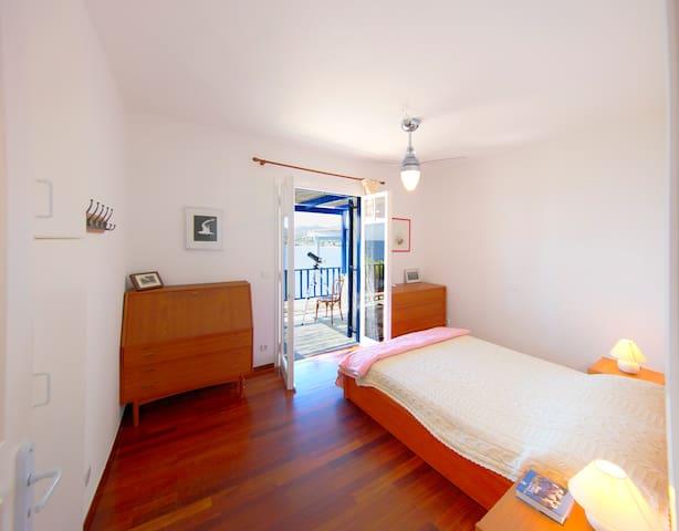 The main bedroom has sea views