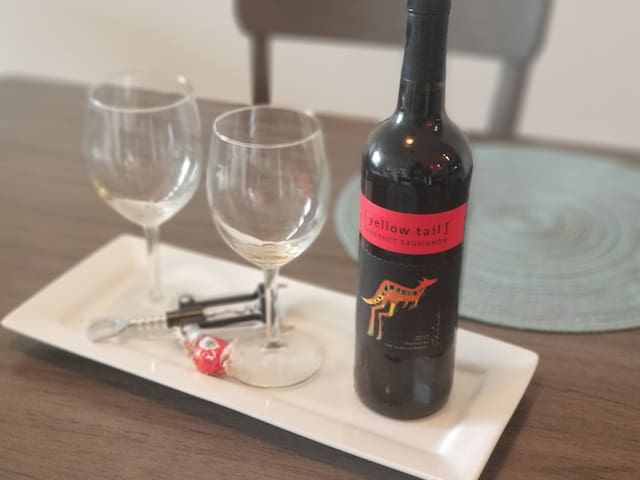 We provide a complimentary bottle of wine per reservation. Enjoy!