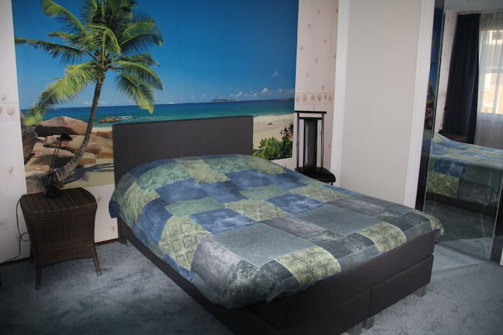 Twin bed with luxury soft carpet.