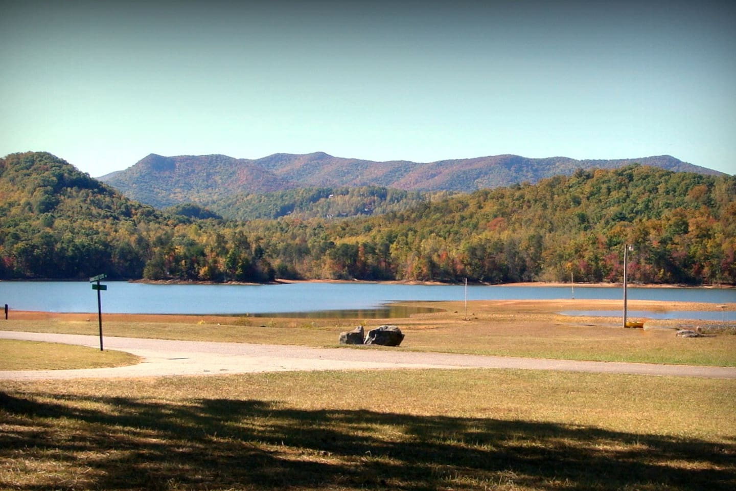 Lake Chatuge Waterfront with Blue Ridge Mountains