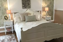 Delightful french inspired Queen size bed with deluxe mattress and fresh bed linen