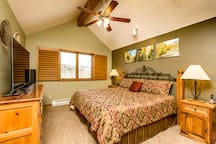 Master BR with vaulted ceilings, majestic views, 55 inch, 4K, Smart TV.