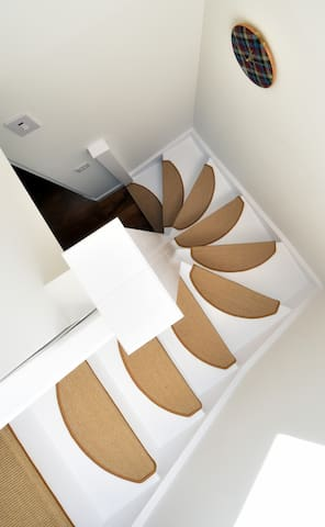 Curved stairway leading to bedroom with roof velux window.