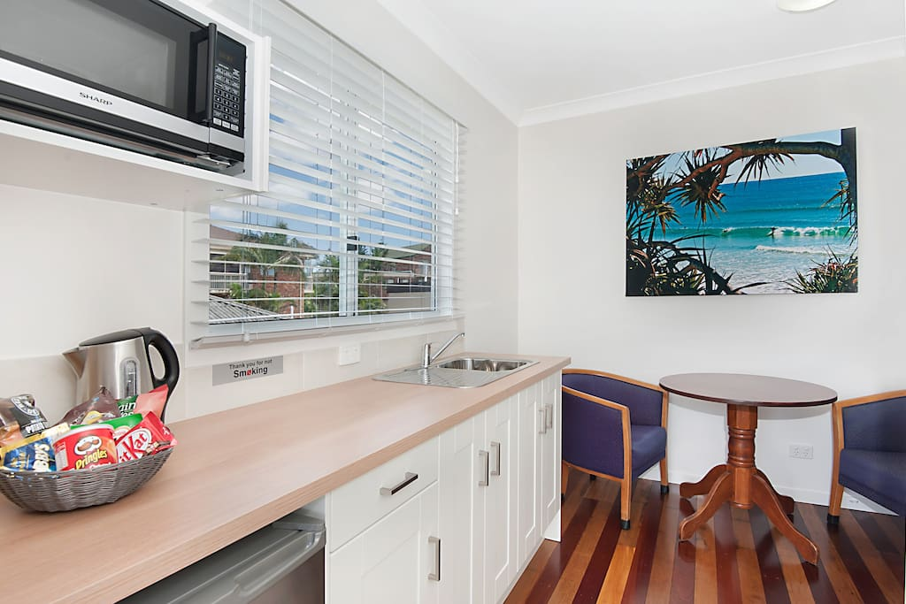 Your room includes a microwave, fridge, kettle, cutlery and crockery.