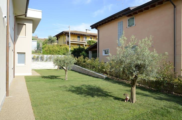 Il grande giardino, zona comune ai 3 appartamenti, abbellito con 3 ulivi, la pianta tipica del nostro bel Lago di Garda.