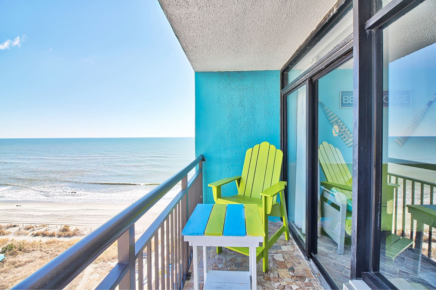 Stunning ocean views from your private balcony on the 12th floor!    Landmark Resort is an oceanfront/beachfront hotel.  Just zoom down the elevator and walk out the back of the hotel...you are on the beach!