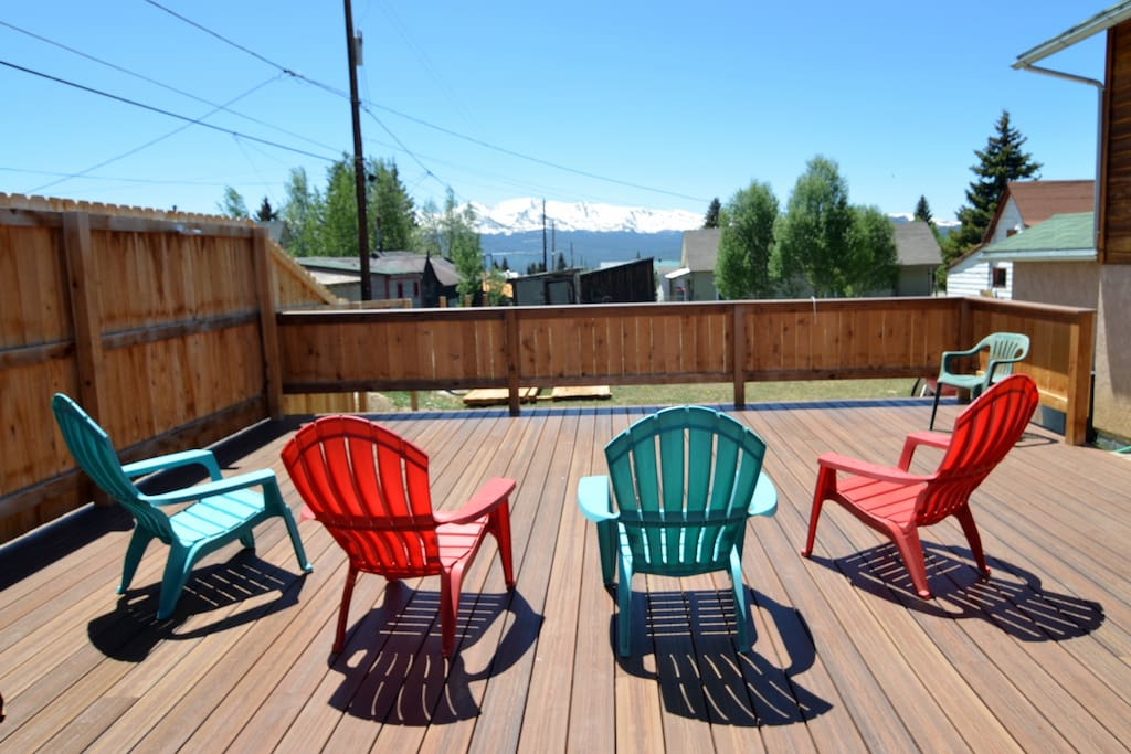 Enjoy the views of Mt. Massive and Elbert for our large deck