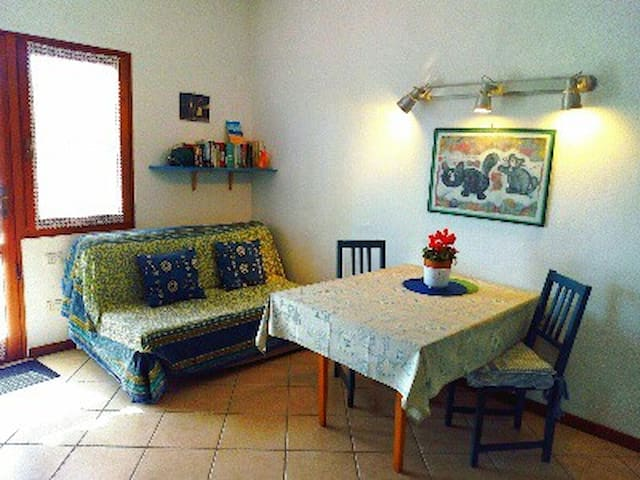 A very bright living room /kitchen.