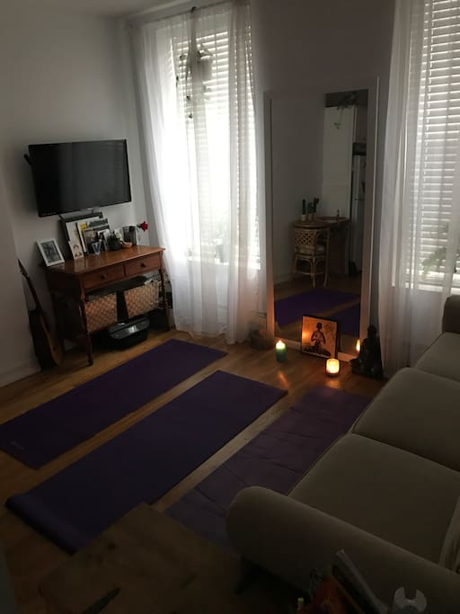 Room is easily transformed into a sanctuary for meditation or yoga, just move the coffee table and unroll the mats by the window...the space  can also fit an air mattress if you have one!