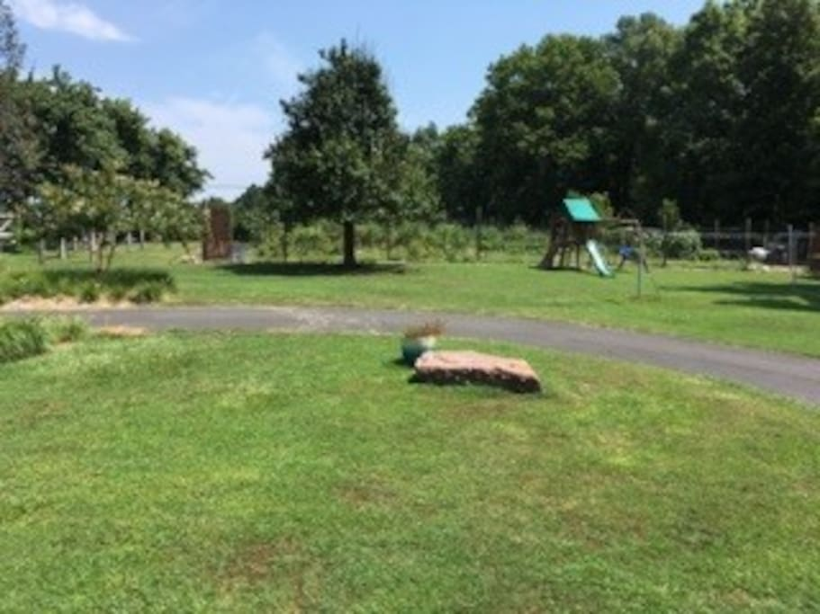 take a walk around our 2.5 acre landscaped homestead, with sunny and shady spots for enjoying the breeze. Campfire pit, organic garden, chickens, and swingset