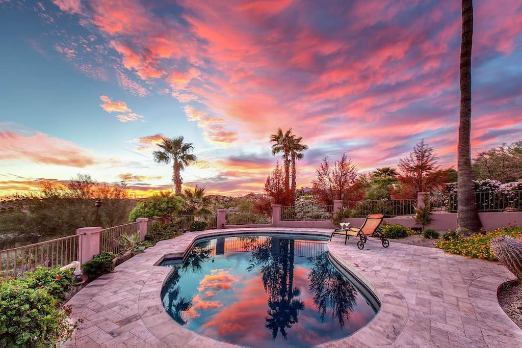 Private heated pool with stunning views