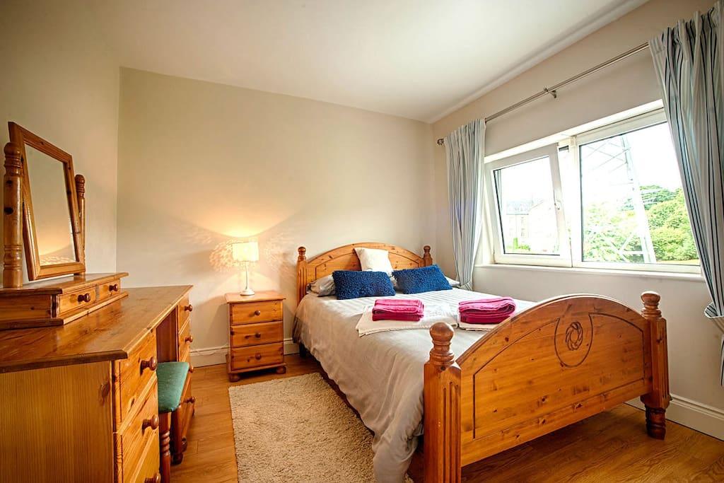 Memory foam mattress & pillows. Bedroom has black out blinds plus curtains. Wardrobe, dressing table, seat, bedside locker, bedside light.