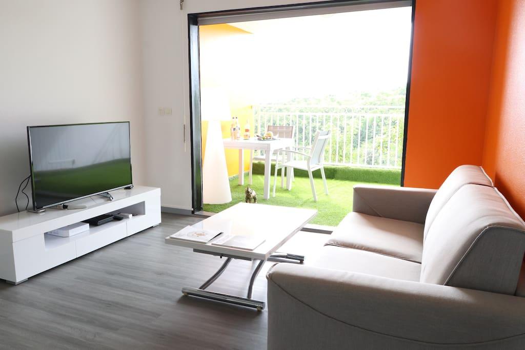 Salon avec TV 4K 123 cm
