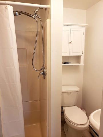 Shower, commode, and pedestal sink comprise private bath in suite.  (There is a second full bath in the adjoining common area with a claw foot soaking tub and shower that guests are welcome to use).