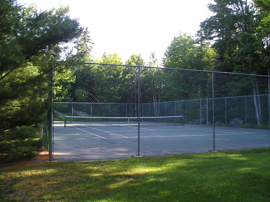 tennis court next door to house
