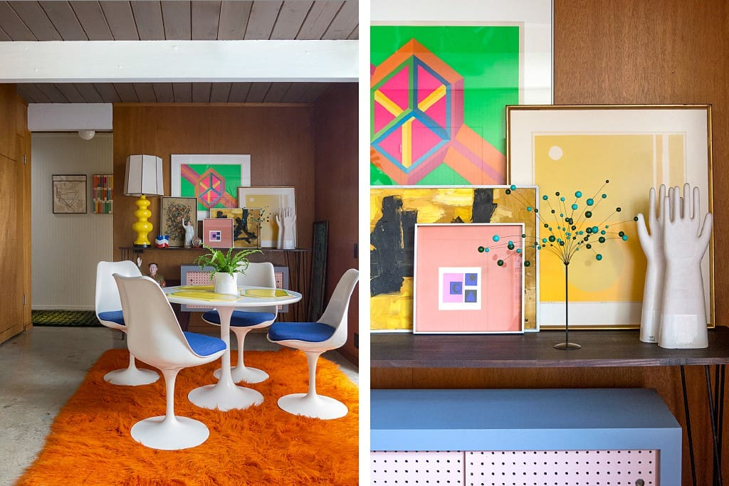 Have your morning coffee and plan your day in my dining room chock full of mid-century furnishings and artwork.