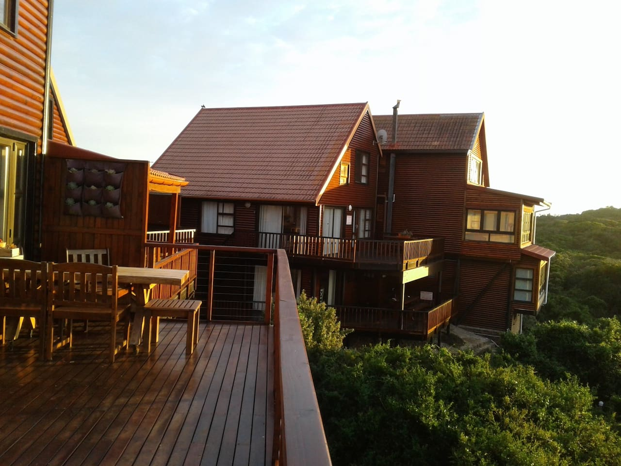 View of 23 Houtboschbaai taken from the balcony of a neighbouring house. The flat is on the ground floor and the house on the first  and second floors.