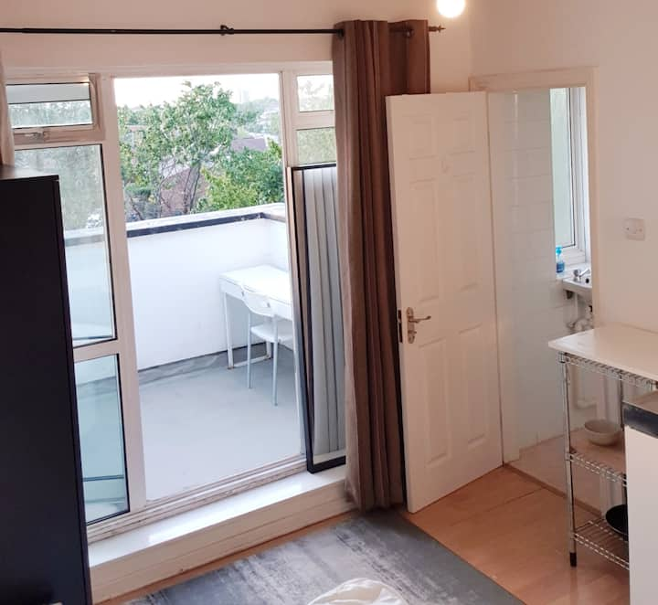 Huge Balcony Studio apartment free WiFi & Parking