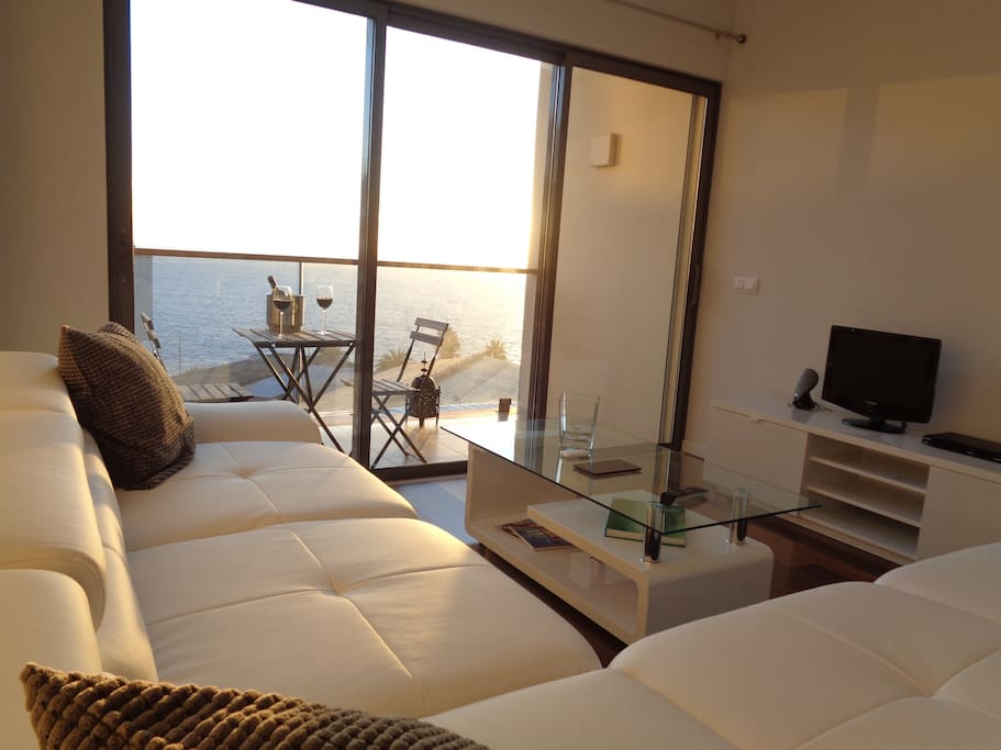 Sunset living room into the flat.