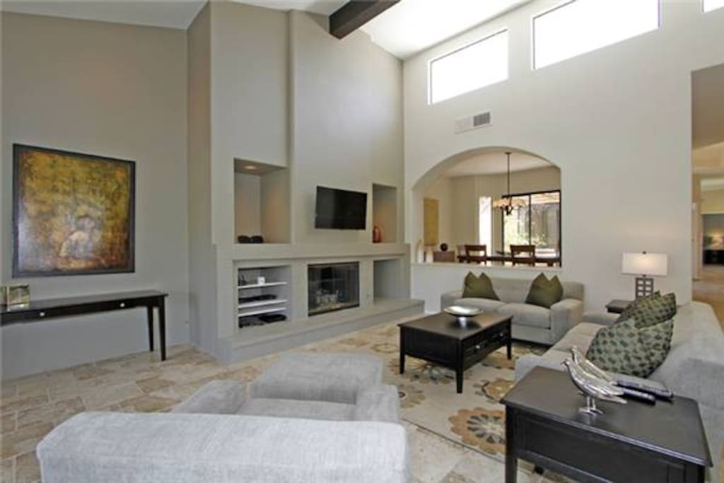 Gracious living space with gas fireplace.