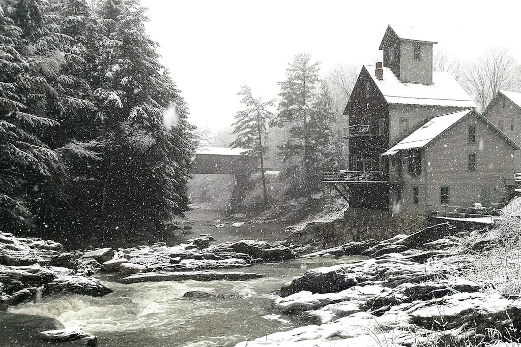 A winter wonderland of white water rapids and glistening conifers add magic and romance to this quintessential 19th century New England vista.