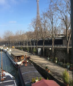 Studio on a houseboat next to the Eiffel Tower - París - Barco