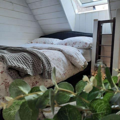 Sleep under the stars on a luxury double bed, the mezzanine garden bedeoom for a wonderful night's sleep