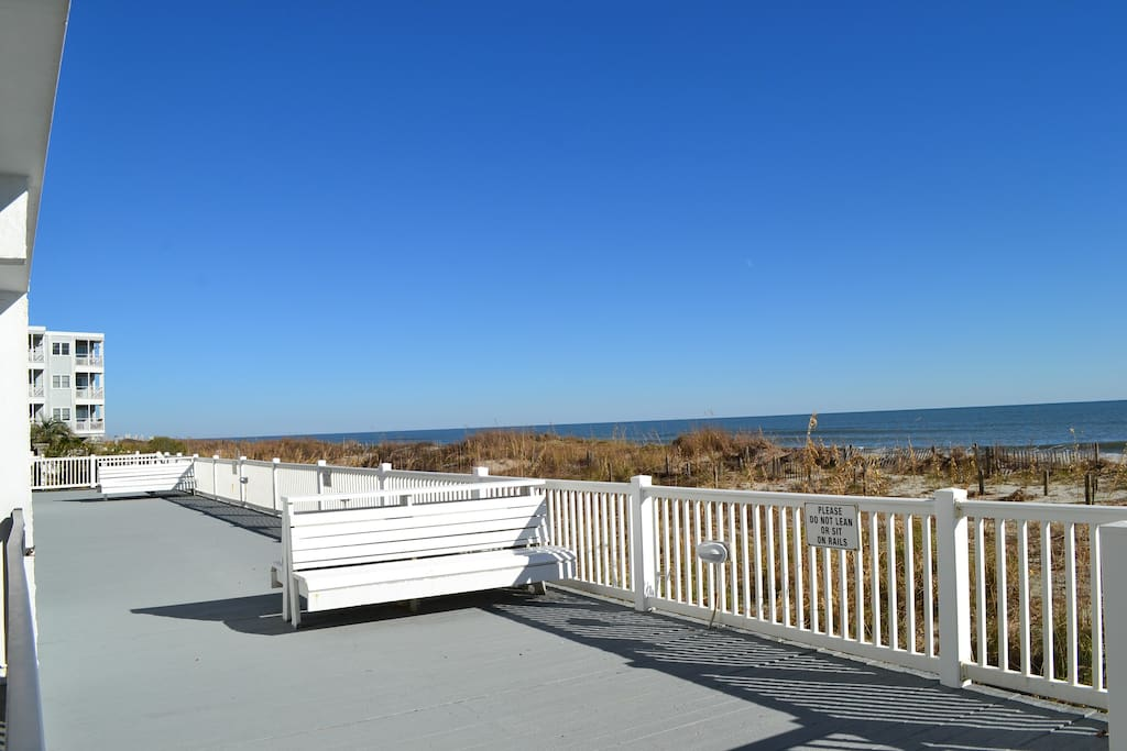 Oceanfront deck at the resort