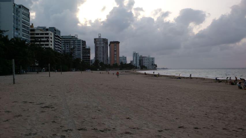 Ocean Park beach looking west to Condado.  Walking distance.