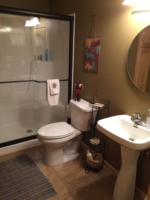 Ensuite bathroom with step-in shower, sink, and storage space.