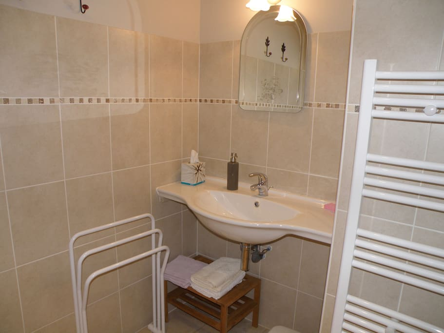 la salle de bain avec douche et toilettes privatives de la chambre Vanille des Chambres d'Hostun