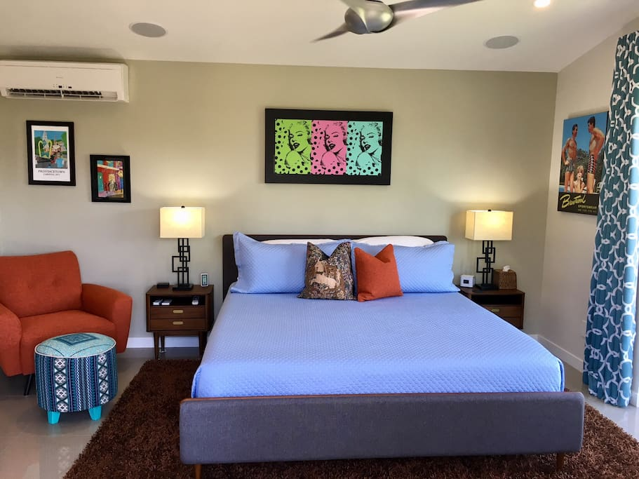 King size bed, side tables, seating, period decor and Casita specific AC/Heating...you bet!