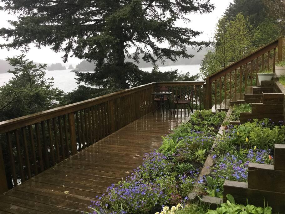 Enjoy the oceanfront deck and gardens.