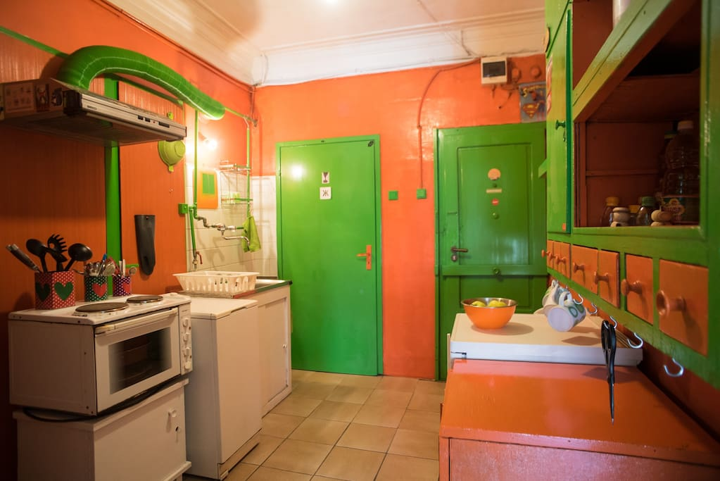 the kitchenette plus entrance and bathroom doors