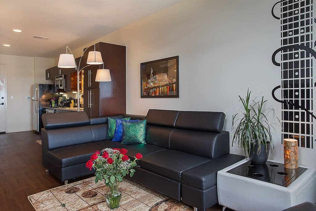 Great Euro Leather Sofa, Elbow room with space to love!