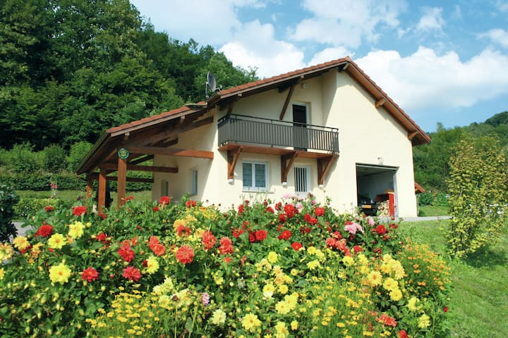 Holiday home in beautiful location on hill of a village near nature park in Northern France