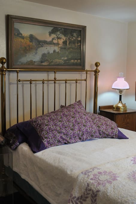 Brass Double Bed with Desk