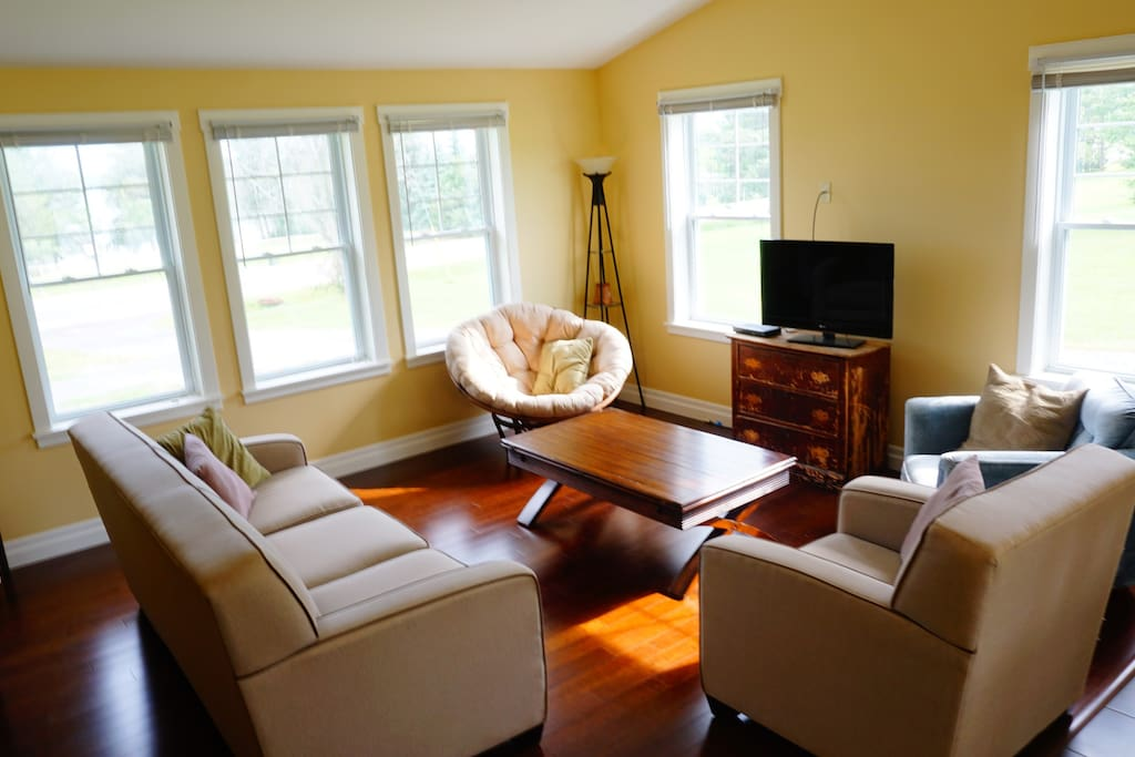 Living room with lots of natural light and bamboo hardwood floors.