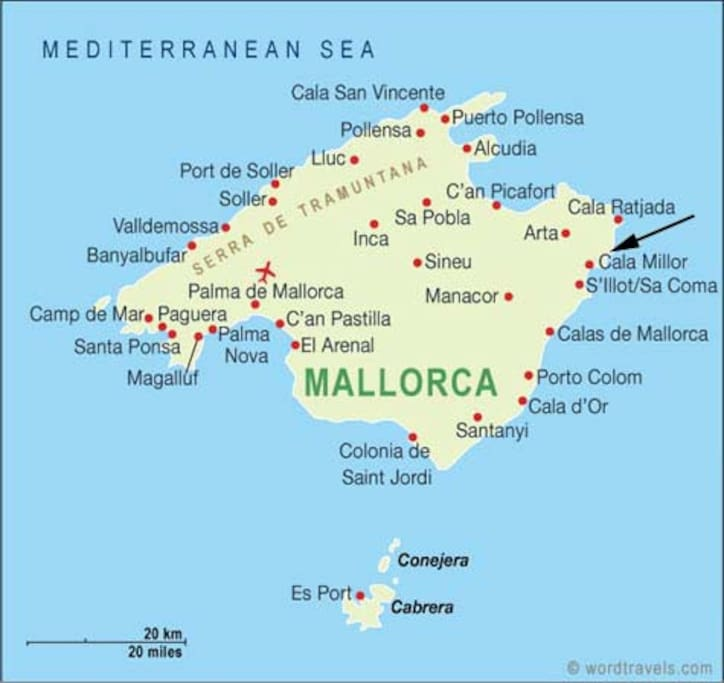 Loctaion of Cala Millor on the island