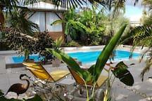 Détendez-vous sur les chaises longues près de la piscine commune.