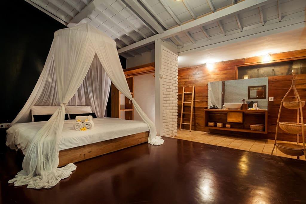 Bedroom 1 AC mosquito net  Ensuit Bathroom