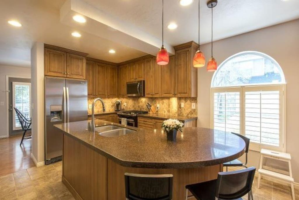 Beautiful Kitchen Stocked with everything you would want.