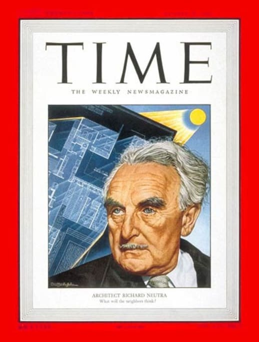 The same year Richard Neutra built Hees House, he was featured on the cover of TIME magazine