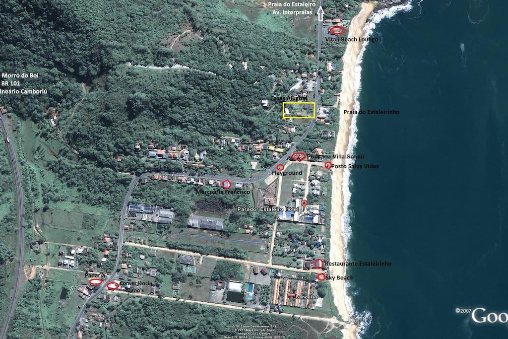 Localização Casas de Aluguel - Praia do Estaleirinho